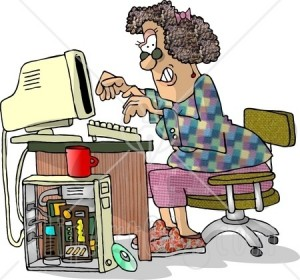 5973-Female-Computer-Hacker-Typing-On-A-Keyboard-Clipart-Picture