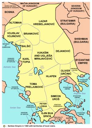 Dušanovo carstvo - neispravna karta