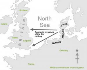 engleski jezik istorija, prodor germanskih plemena
