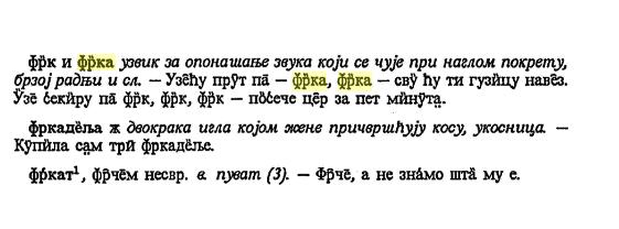 frka značenje poreklo Српски дијалектолошки зборник 36